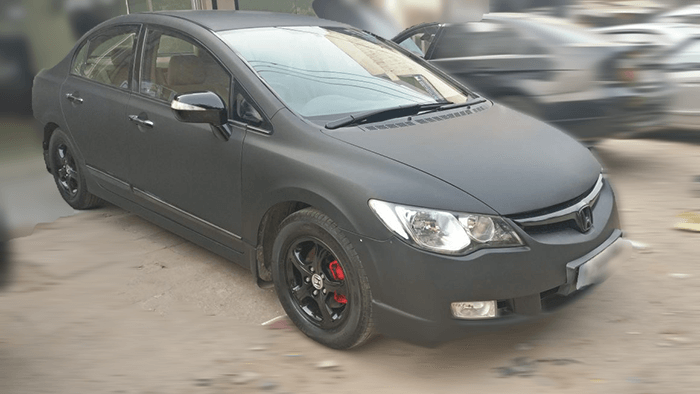 Honda City matte black wrap